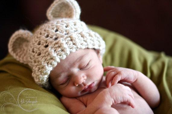 Crochet Baby Hat,  Newborn Beanie Hat, Hat with Ears, Baby Girl, Baby Boy, Crochet Hat, Infant Winter Hat, Teddy Bear Hat, MADE TO ORDER