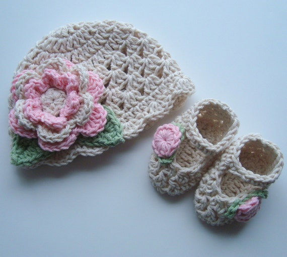 Crochet Baby Hat,  Baby Girl Booties, Crochet Beanie Hat and Mary Jane Booties, Newborn, 0-3 Months, Ecru,  Pink, Sage Green, MADE TO ORDER