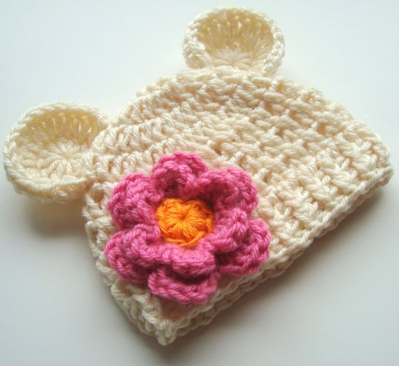 Crochet Baby Hat,  Beanie Hat with Ears and Flower,  Baby Girl Hat, Crochet Hat, Animal Hat, Baby Hat with Ears, Pink,  Cream, MADE TO ORDER