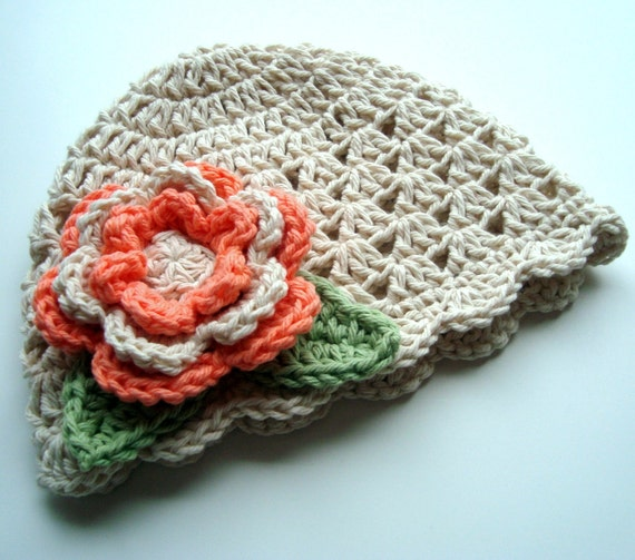 Baby Girl Hat, Toddler Girl Hat, Crochet baby Hat with Flower, Baby Winter Hat, Summer Hat, Scalloped Hat, MADE TO ORDER, Ecru and Coral