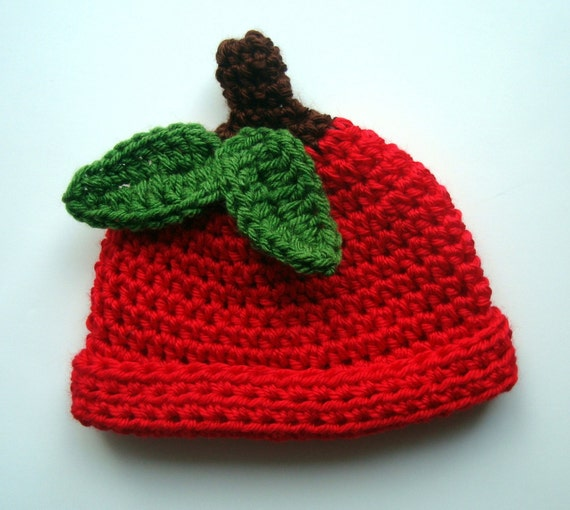 Crochet Baby Hat, Crochet Apple Hat, Red Apple hat, MADE TO ORDER