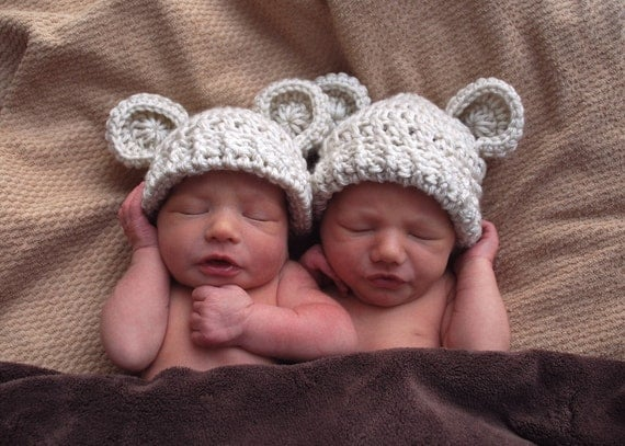 Sale, Crochet Baby Hats, Infant Hats, Baby Girl Hat, Baby Boy Hat, Set Of Two, Crochet Hat with Ears, 0-3 months, MADE TO ORDER Color choice
