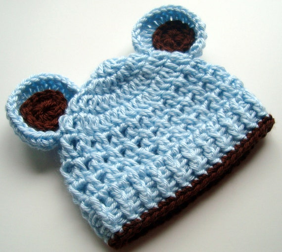 Free Crochet Pattern Baby Beanie With Brim : Baby Boy Hat Crochet Baby Hat with Ears Crocheted Infant