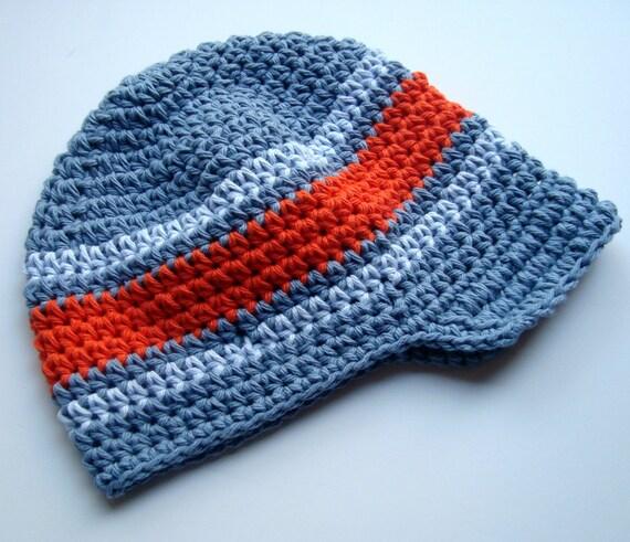 Boys Crochet Hat, Baby Boy Hat, Boys Summer Hat, Boys Winter Hat, Crochet Visor Hat, MADE TO ORDER, Slate Blue, Light Blue, Orange