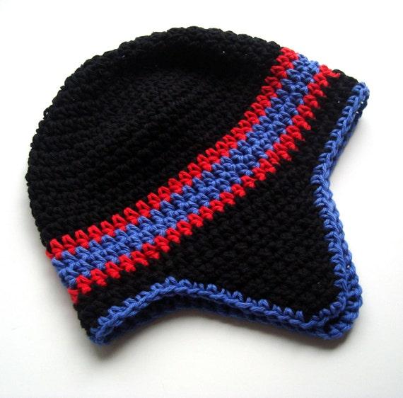 Crochet Boys Hat, Crochet Girls Hat, Boys or Girls Cotton Crochet Earflap Helmet Hat, Crochet Ski Hat, Crochet Baby Hat, MADE TO ORDER