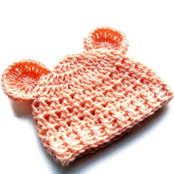 Crochet Baby Hat, Baby Girl Hat, Teddy Bear Hat, Crochet Hat, Infant Winter Hat, Crochet Hat with Ears, months, Peach,  MADE TO ORDER