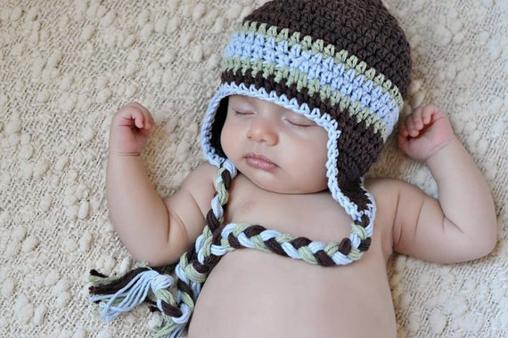 Boys Winter Hat, Cotton Crochet Earflap Hat, Baby Boy Hat, Crochet Hat, Toddler Crochet Hat, Newborn Crochet Hat, Baby Hat, MADE TO ORDER
