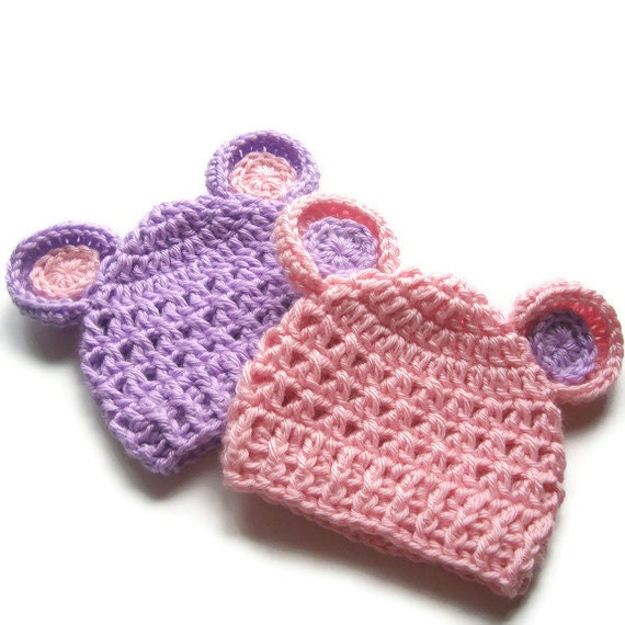 Crochet Hat with Ears, Crochet Baby Hat, Hats for Baby Girl, Crochet Hat for Twins, Set of Two, 0-3 months, Pink and Lavender, MADE TO ORDER