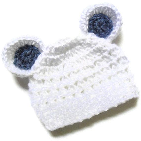 Free Crochet Pattern Baby Beanie With Brim : Crochet Baby Hat with Ears Infant Beanie Hat with by Karenisa
