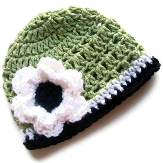 Crochet Baby Hat, Baby Girls Crochet Beanie Hat, Baby Girl, Crochet Hat, Toddler Winter Hat, Sage Green, White, Black, MADE TO ORDER