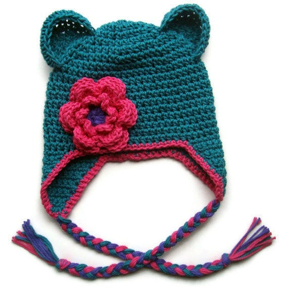 Crochet Womens Hat With Ear Flaps Pattern : Girls Cotton Crochet Ear Flap Beanie Hat with Ears and Ties