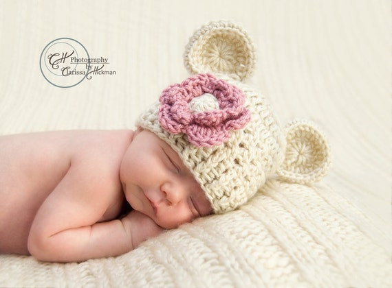 Baby Girl Hat, Crochet Beanie Hat with Ears, Infant Beanie Hat with Ears and Flower, Oatmeal and Rose Pink 0-3 Months-MADE TO ORDER