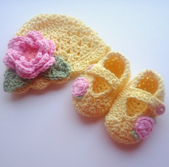 Crochet Baby Hat and Booties Set, Hand Crocheted Beanie Hat and Mary Jane Booties Set, 0-3 Months, Light Yellow, Pink, MADE TO ORDER