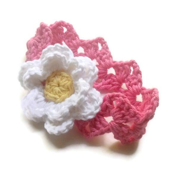 Crochet Baby Headband, Infant Headband, Baby Girl Headband with Flower, Baby Girl, Custom MADE TO ORDER, in size Newborn or 0-3 months