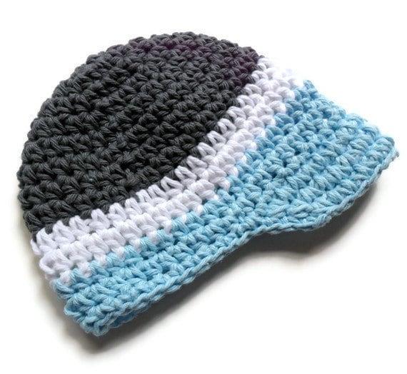Baby Boy Hat, Crochet Baby Boy Visor Hat, Newborn Crochet Visor Beanie, 0-3 Months, READY TO SHIP