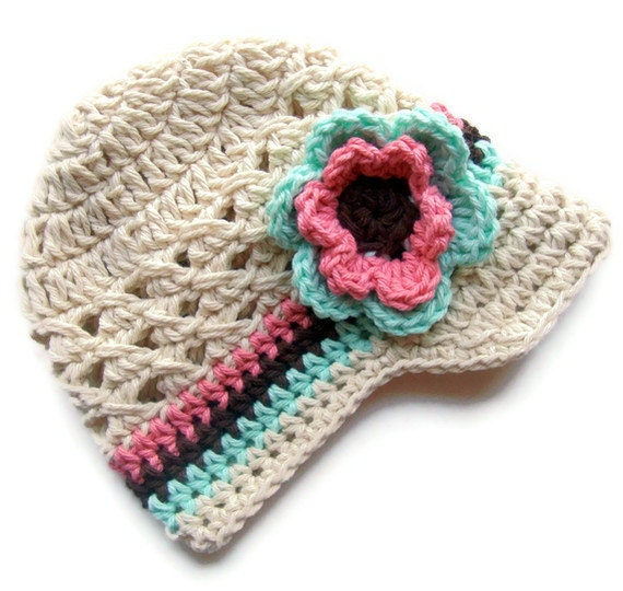 Girls Crochet Hat, Baby Girl Crochet Hat, Crochet Visor Hat, Baby Girl Hat, Toddler Crochet Hat, MADE TO ORDER, Ecru, Mint, Rose Pink, Brown