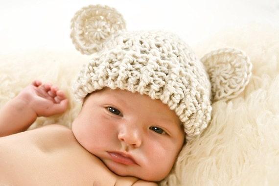 Adorable Crocheted Hat with Ears-perfect for photos