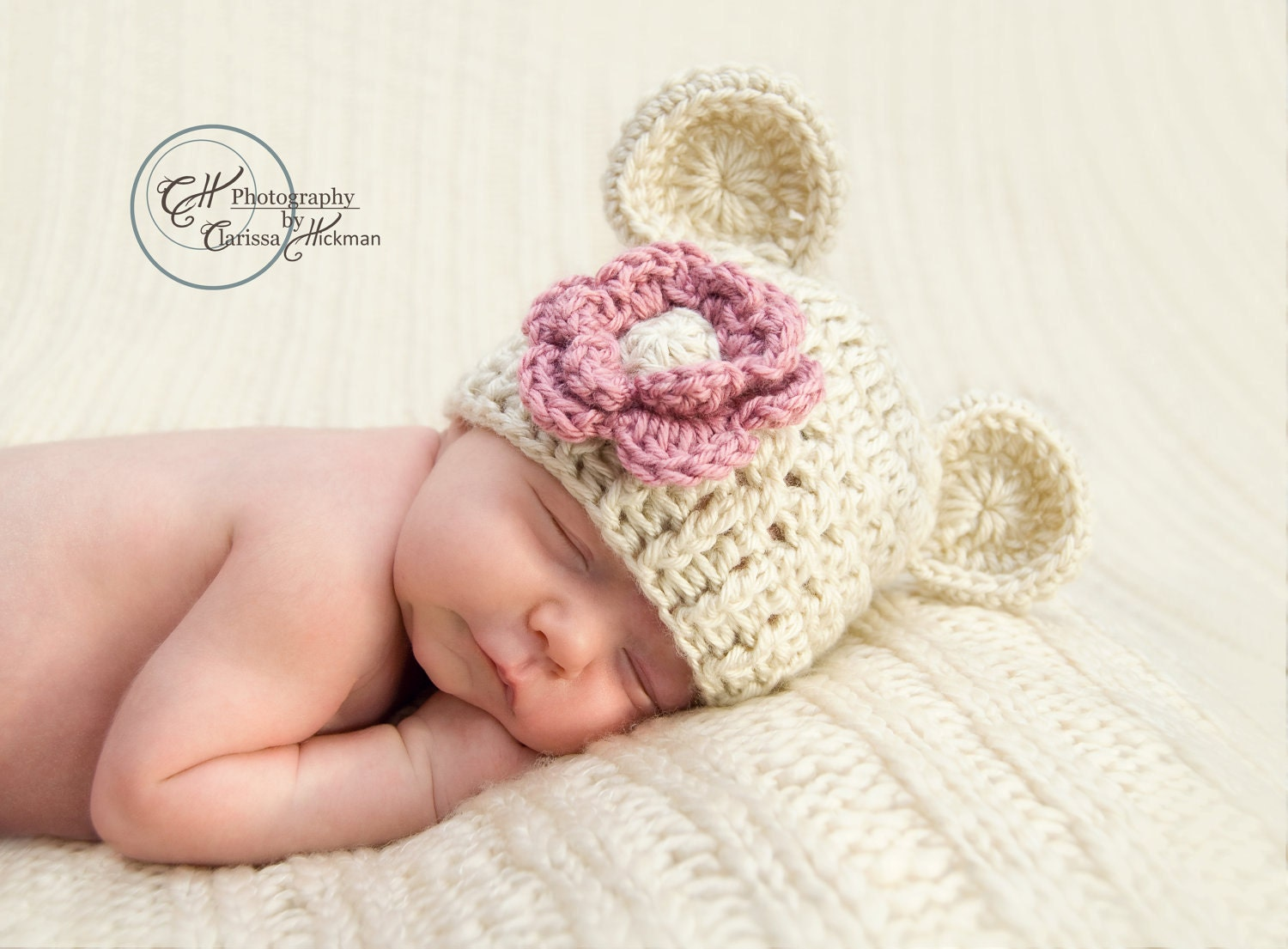 Free Crochet Pattern Baby Beanie With Brim : Baby Girl Hat Crochet Beanie Hat with Ears Infant Beanie Hat