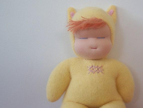 Baby Purrsila - Yellow Kitten Baby - Waldorf Doll
