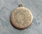 Art Deco Engraved Round Locket with Monogram on Back - Nicely Detailed Engraving