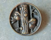 Victorian Metal Picture Button 2 Birds Perched in a Tree