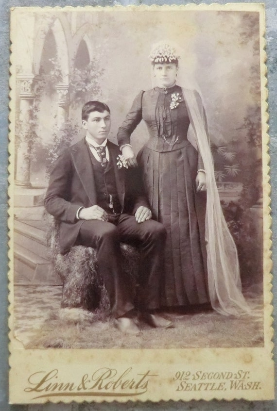 RESERVED FOR Ashley Nicole Victorian Bride and Groom Wedding Photo Cabinet Card