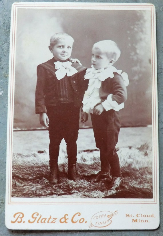 Late 1800's Awesome Photo of 2 Little Boys in Big Neck Bows