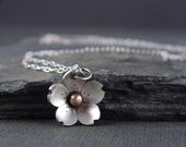 Silver Cherry Blossom Pendant - Sterling silver and Bronze, Gifts for Her, Spring jewelry, Sakura flower
