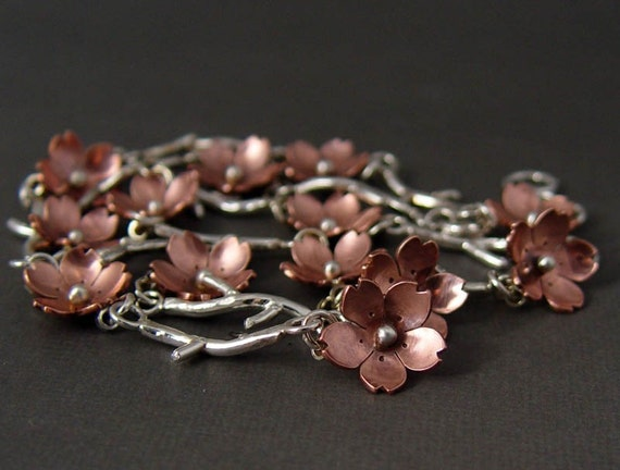 Reserve for Yuri- Cherry Blossom Branch Bracelet, Twig Jewelry - Metalsmithing, MADE TO ORDER, Plum Blossom