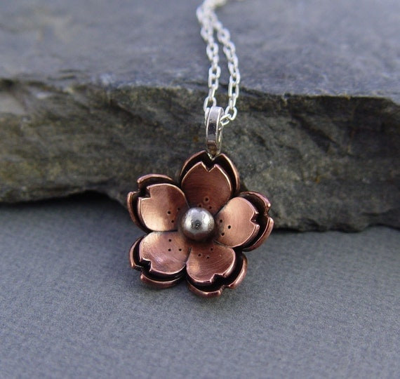 Reserve for James - Double Cherry Blossom Pendant, Sakura Flower, Metalsmithing, Copper Jewelry