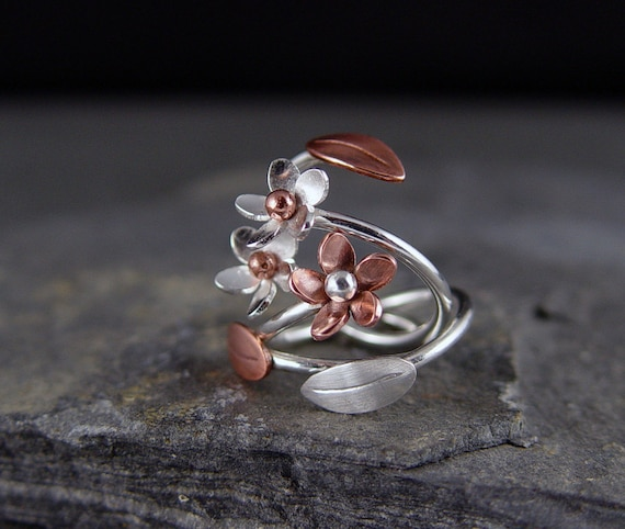 Plumeria Adjustable Ring, Copper Plumeria, Silver Leaf, Flower RIng, Gifts for her, Gifts under 50, 1 Ring made to order
