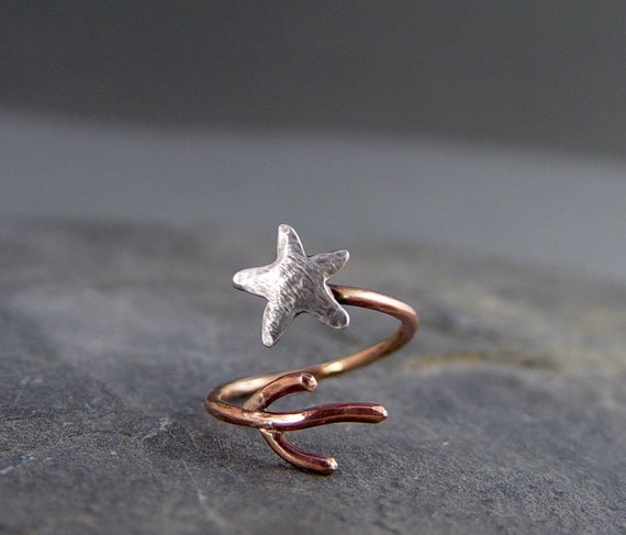 Starfish Coral Adjustable Ring, Silver and Bronze Starfish Ring, Ocean Jewelry, Gifts for her, Gifts under 40.00