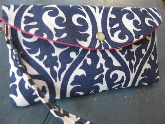 Gift Idea..Large Style Clutch/Wristlet (Curved Foldover Flap) and Detachable Wrist Strap / Kimono Damask Navy and White