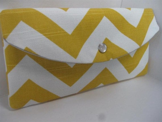 Gift Idea...The Jenna Clutch / Perfect for your Bridesmaids or any Gift Giving / Chevron in Yellow