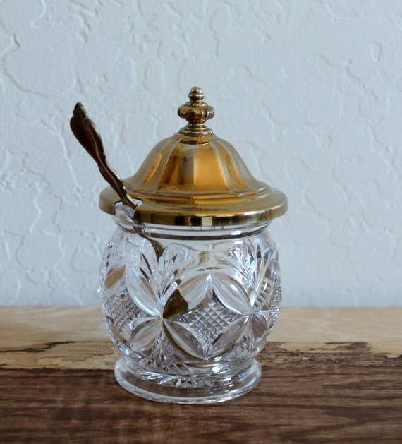 Vintage Glass Condiment Jar with Gold lid and Spoon