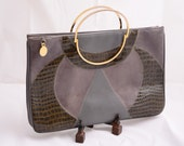 Vtg Art Deco Clutch by Chic de Paris Grey Reptile Avant Garde
