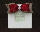Cream frame with burlap and red damask ribbon and rhinestone embellishment