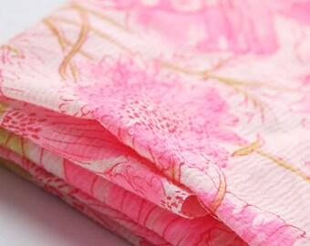 Vintage Pink Floral Fabric Remnant