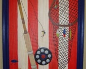 Fly Fishing Nautical Boat Boys Room Decor Wall Art Custom Painting
