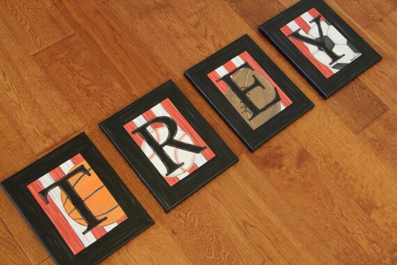 Custom Personalized Name Wall Letters Sports Baseball Soccer Basketball Personalized Football Canvas Art Boys Room Decor (price per letter)