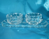 60s crystal cream sugar set with tray