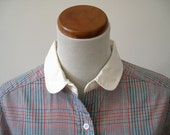 Colorful vintage woven plaid womens shirt with contrasting collar and cuffs