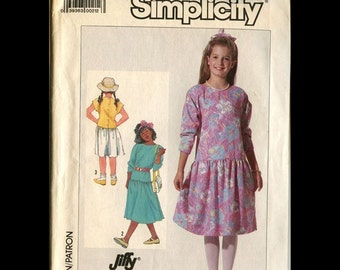 Girls dress pattern from 1986 with drop waist and jewel neckline