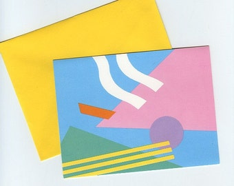 Colorful vintage note cards with abstract design