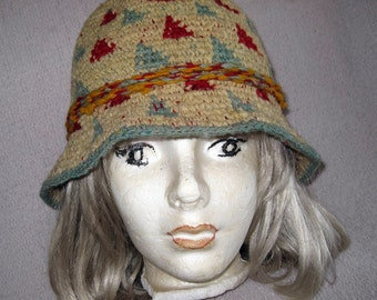 Colorful vintage handmade crocheted wooly cloche hat