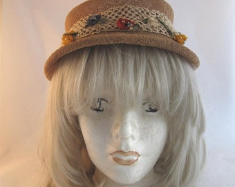 50s Hattie Carnegie Straw Hat with Flowers