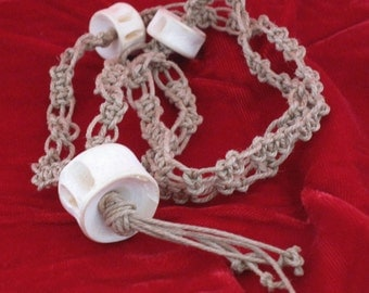 70s macrame necklace with bone beads