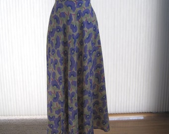 Vintage 80s swingy bias cut flowered full skirt