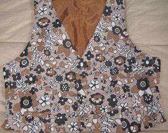 Beige print flower power handmade man's vest from the early 70s