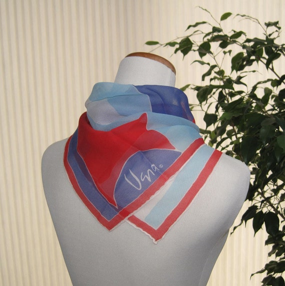 70s Vera Neumann red, white and two blues chiffon square